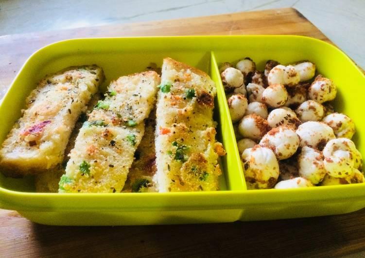 Recipe of Perfect Veggie sooji bread sticks and roasted shaker foxnuts