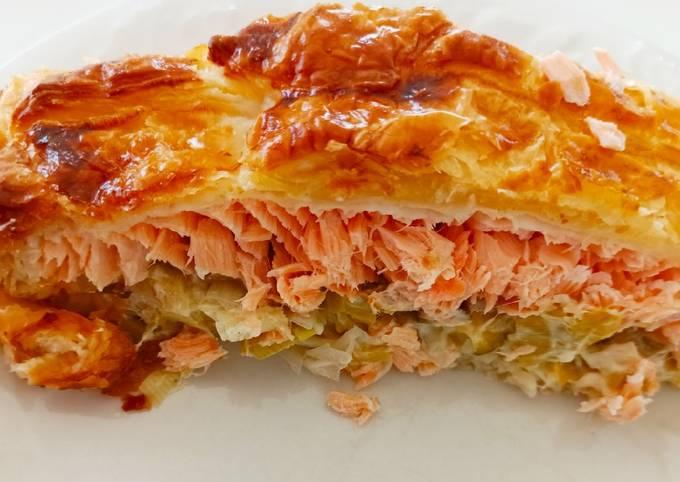 Feuilleté poireaux truite ou saumon