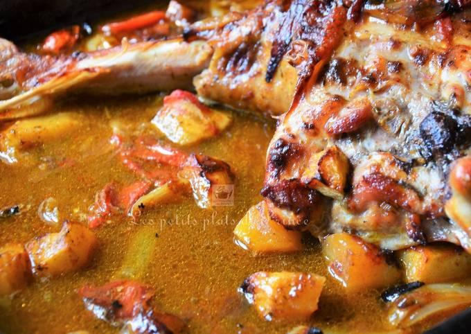 Cuisse de dinde à l'indienne, au lait de coco et curry épicé