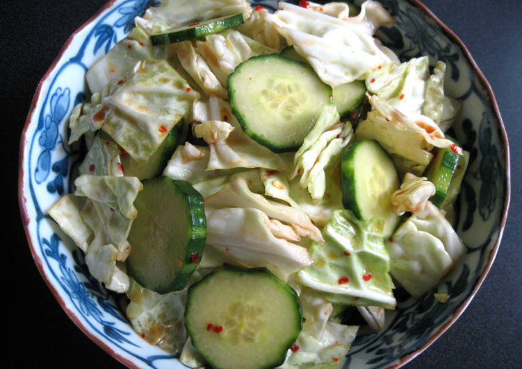 Steps to Make Homemade Crunchy Spicy Cabbage & Cucumber