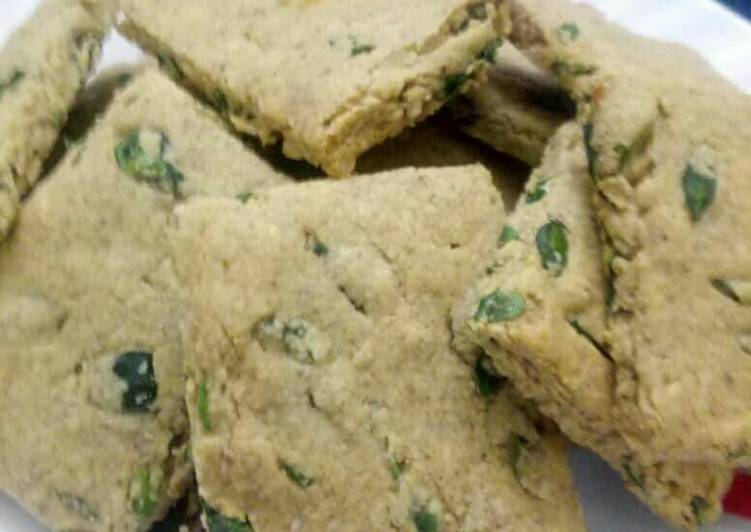 Dal and Moringa leaves short bread cookies