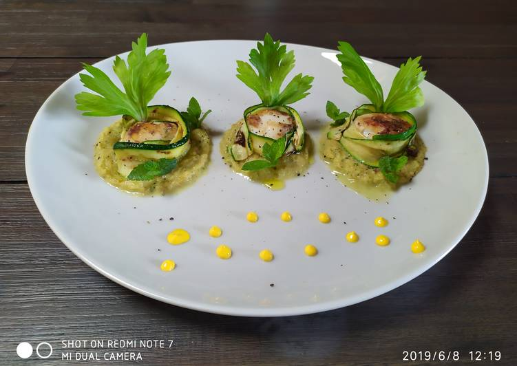 Ricetta Capesante avvolte da zucchine marinate🥒🥒🥒🥒🍃