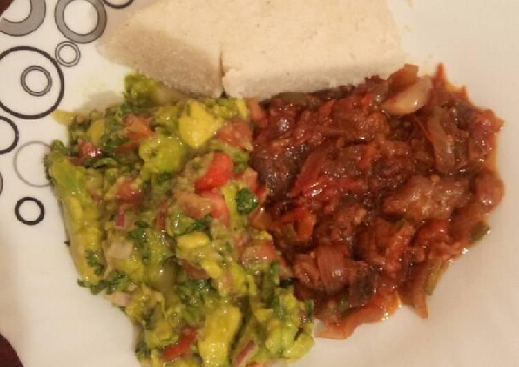 Wet fry beef, guacamole and ugali