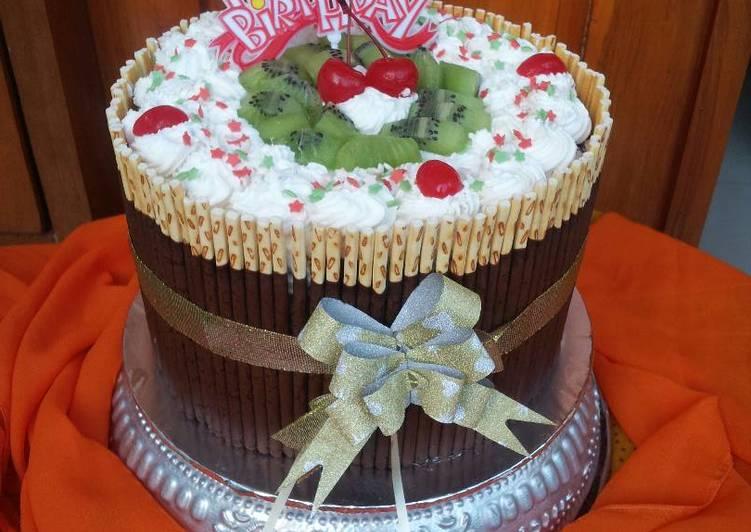 Pocky Bday Cake #Tiramisu Egg Drops mixed Spongecake Chocolate Base Cake#