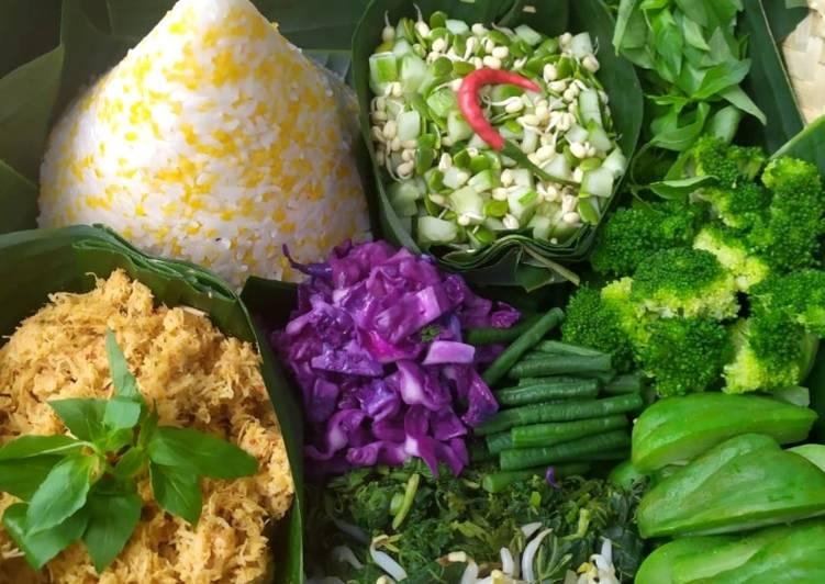 Resep Nasi Uduk Jagung dg Urap Sayur Bumbu Kelapa Parut Sehat Bikin Laper