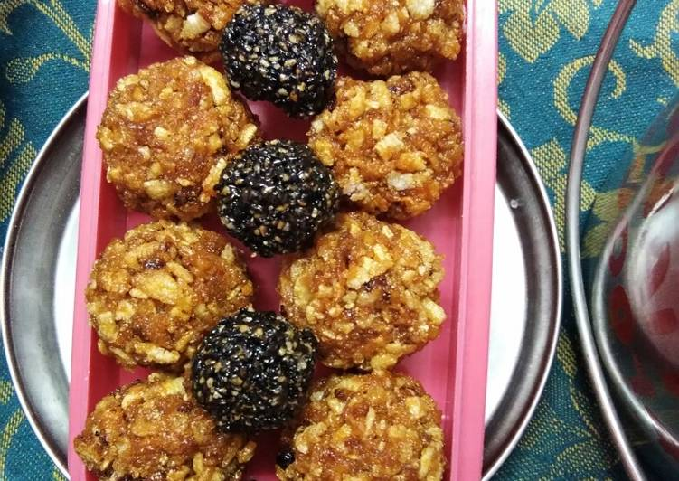 Coconut with flattened rice laddu - Laurie G Edwards