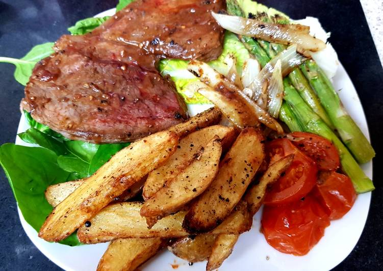 Try Using Food to Boost Your Mood My Peppered Marinated Steak with Onions garlic, Wedge Chips. 😘