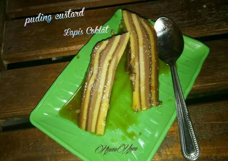 Puding custard Lapis coklat caramel