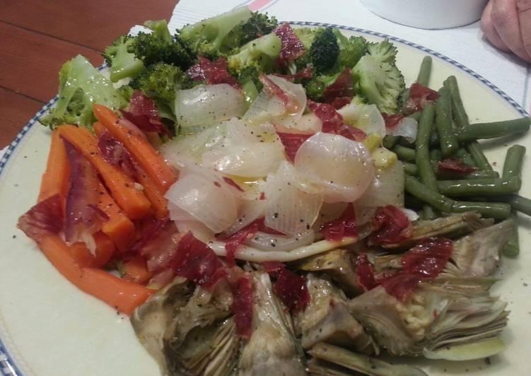 Steps to Make Homemade Steamed vegetables with crispy Iberian ham