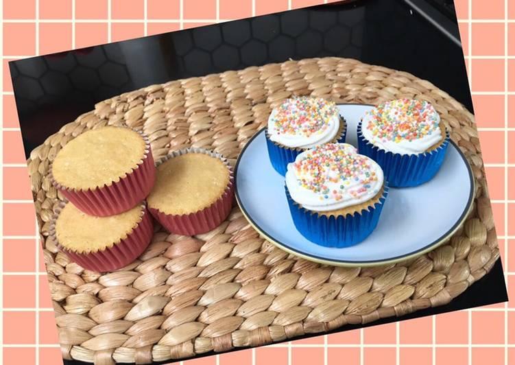 Gluten free Vanilla Cupcakes (tanpa baking soda, baking powder)