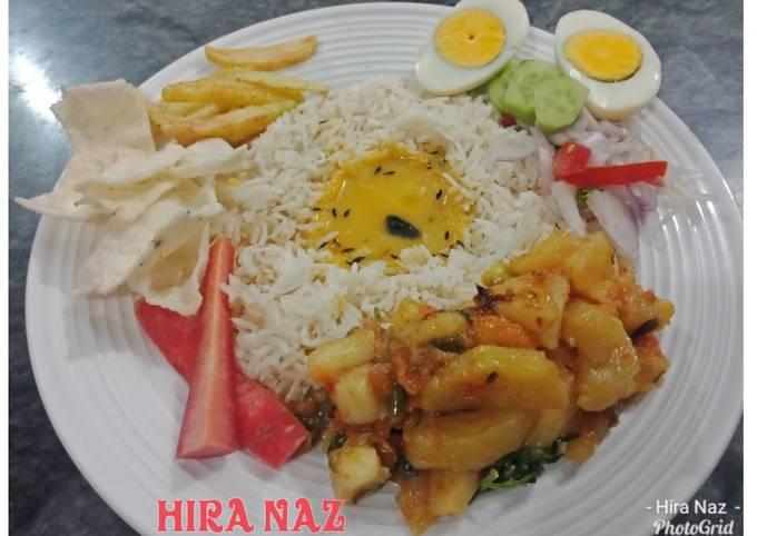 Aloo ki Bhujiya with Dal, Rice, salaad, french fries and Boil egg, Papar.