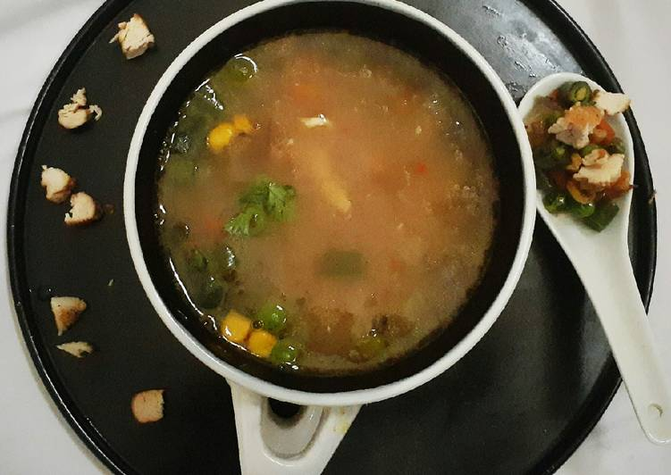 Recipe of Speedy Broken Wheat Chicken Soup with Roasted vegetables