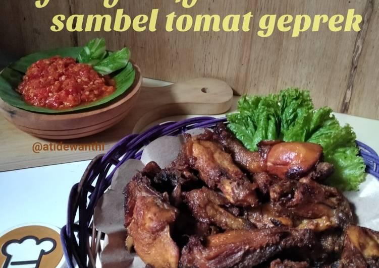 *ayam goreng bacem,sambel tomat geprek*