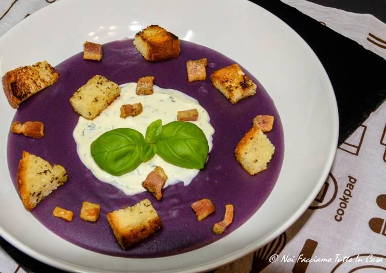 Ricetta Vellutata di patate viola con salsa allo yogurt e guanciale croccante