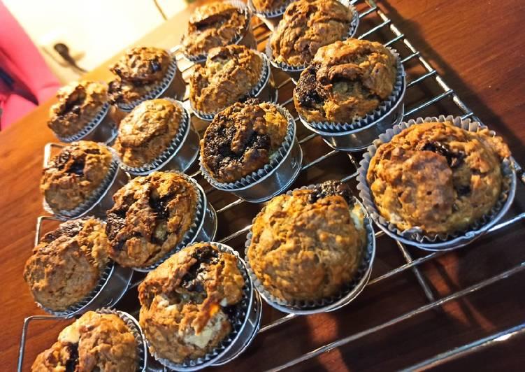 Resep Chocochips Banana Oat Muffins Bikin Jadi Laper