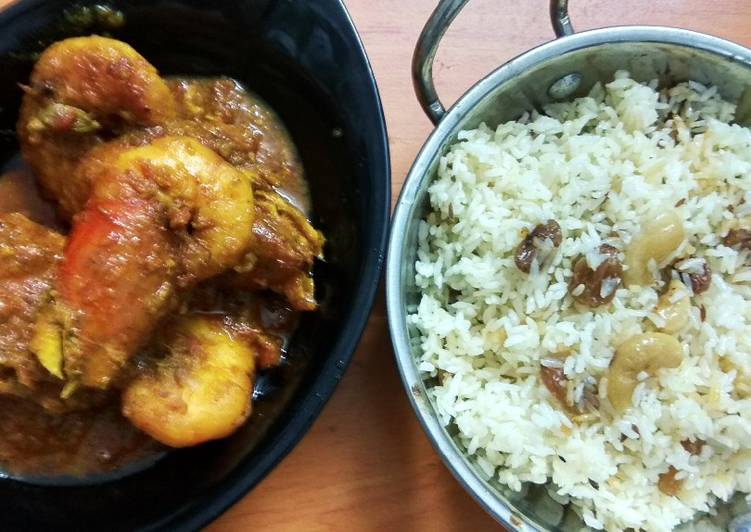 Chingri Macher Malai Curry and doodh pulao Finding Healthy Fast Food