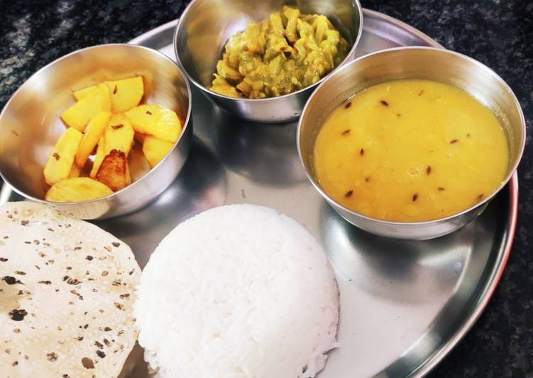 Simple veg thali (rice, dal, turai, and stir fry potatoes) for l