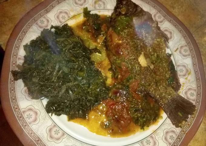 Ugali, fish & coconut milk mchicha@cocomchicha😮
