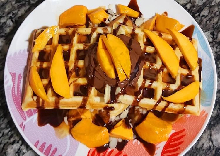 Mango choco waffles