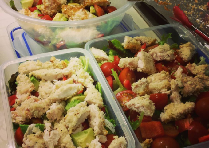 Healthy Breaded Chicken with Salad