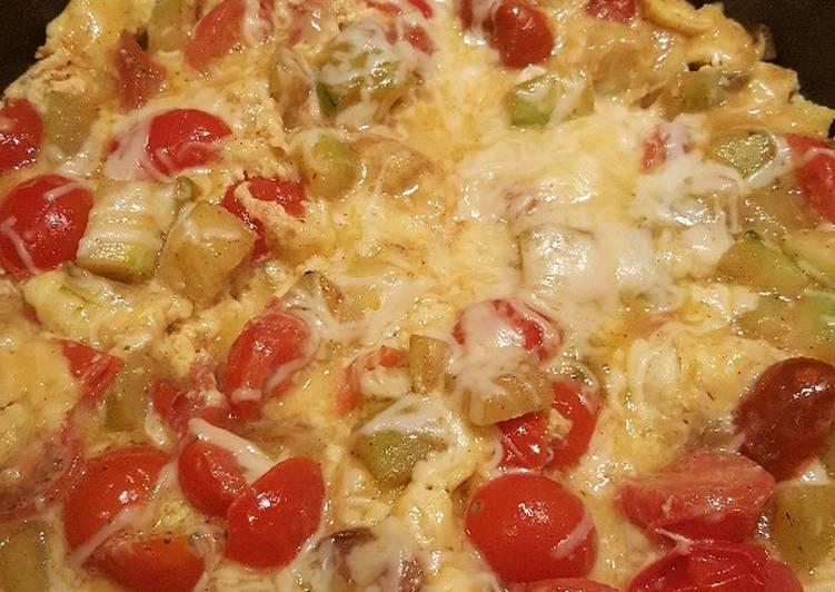Omelette aux courgettes et tomates
