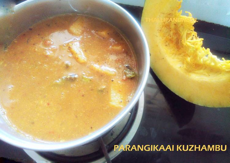 Simple Way to Prepare Any-night-of-the-week Parangikaai Kuzhambu / Yellow pumpkin in tamarind sauce