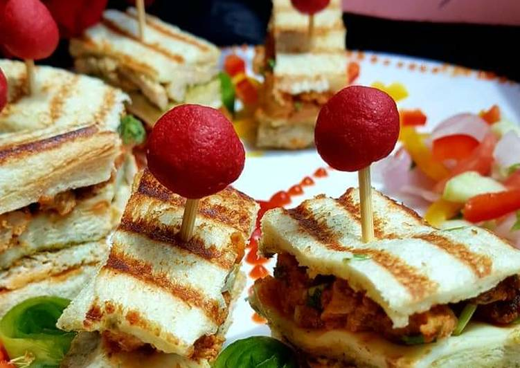 Recipe of Speedy CHICKEN Tikkah Club sandwiches