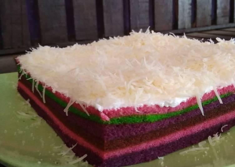 Rainbow cake kukus. Bolu kukus pelangi