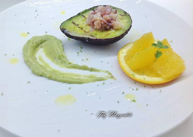 Ricetta Avocado alla piastra con tartare di pescespada e crema di Guacamole