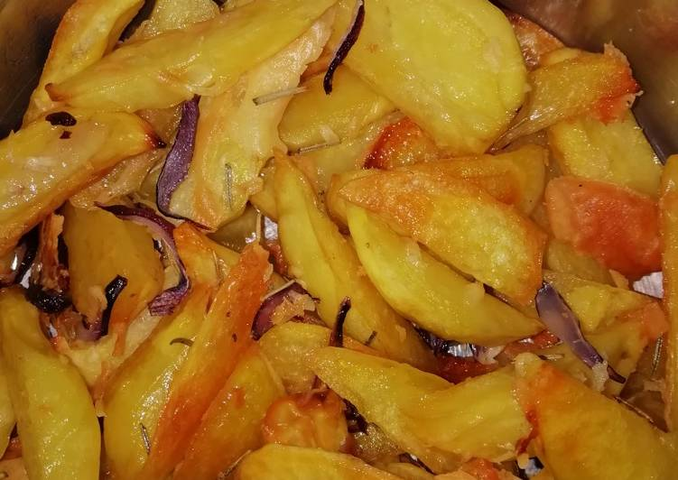 How to Make Recipe of Baked Rosemary potatoe wedges and cheese #themechallenge