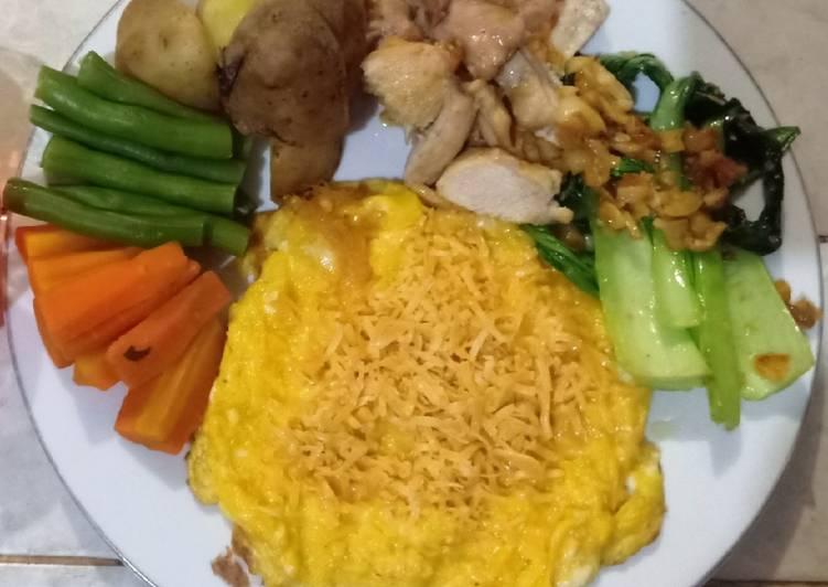 Scramble Egg, Ayam dan sayur