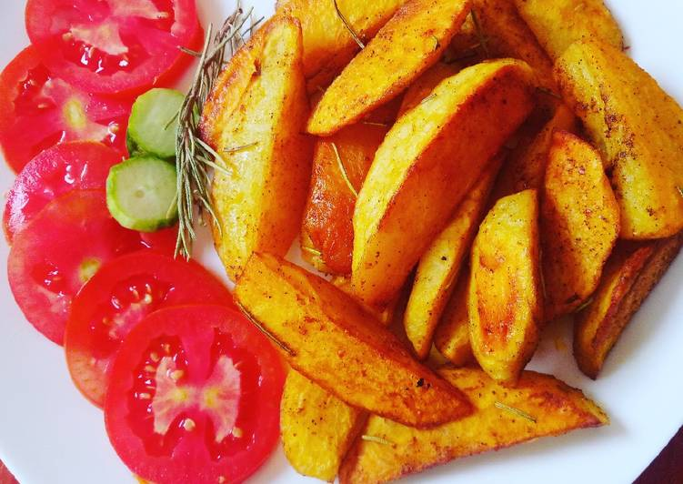 Steps to Prepare Quick Rosemary baked potato wedges