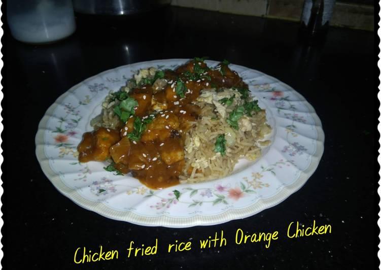 Chicken fried rice with orange chicken