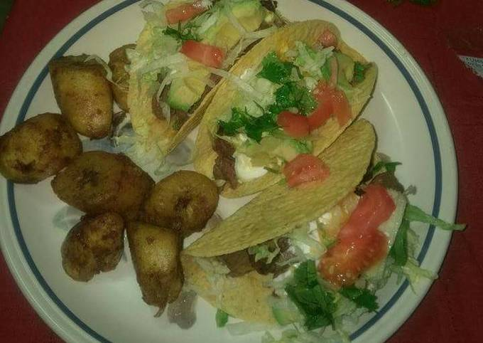 Seared steak tacos w side of sweet fried plantains