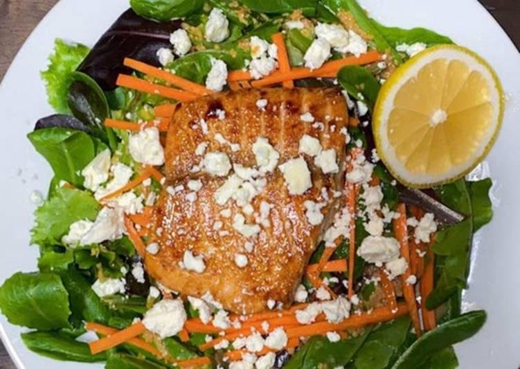 Teriyaki Salmon with Feta & Ginger Salad