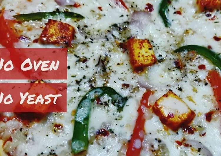 No yeast No Oven Paneer Tikka Pizza