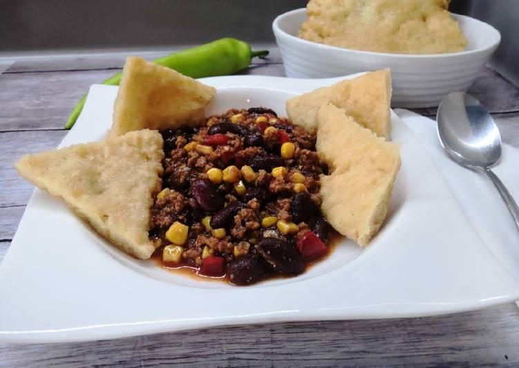 Chilis bab, gluténmentes lángossal recept foto