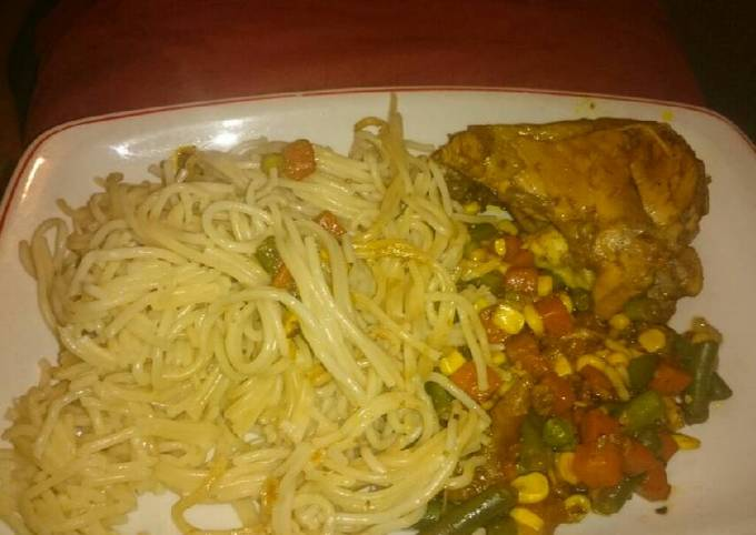 Grilled Chicken with Spaghetti and veggies