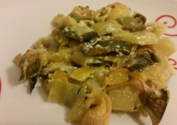 Recette Savoureux Gratin de poireaux aux pleurotes et parmesan !