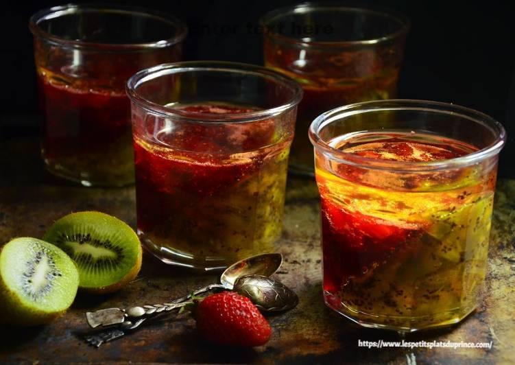 Confiture oblique bicolore à la fraise et au kiwi