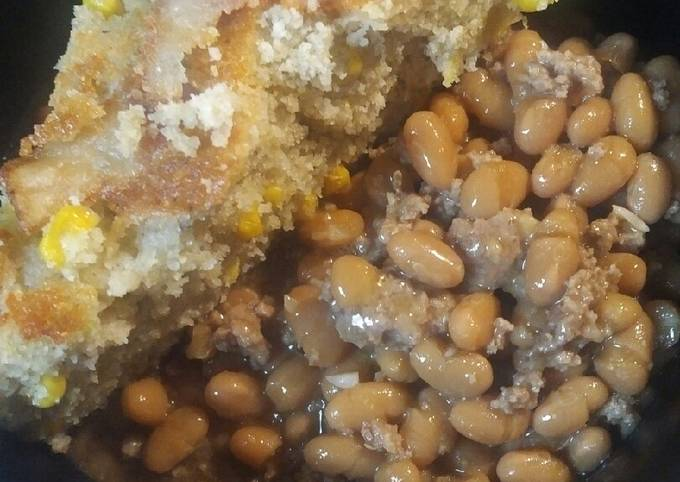 Beans and Burger with Onions