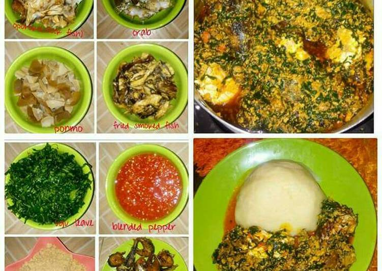 Egusi soup served with semo
