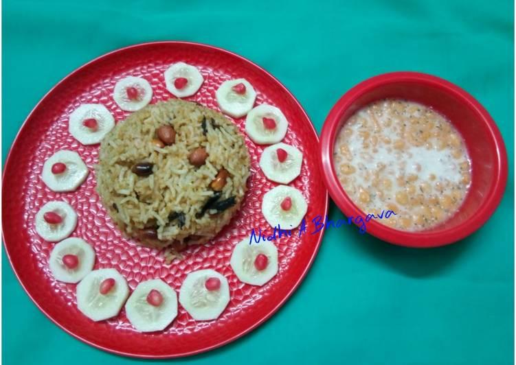 Absolutely Ultimate Dinner Easy Summer Peanut rice with bundi raita