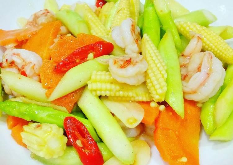 Resep Tumis Jagung Muda (Janten) udang Dan asparagus Yang Gampang Pasti Sedap