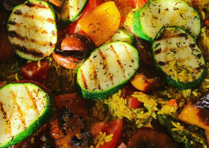 Spicy Habanero pilau rice with Chargrilled Vegetables