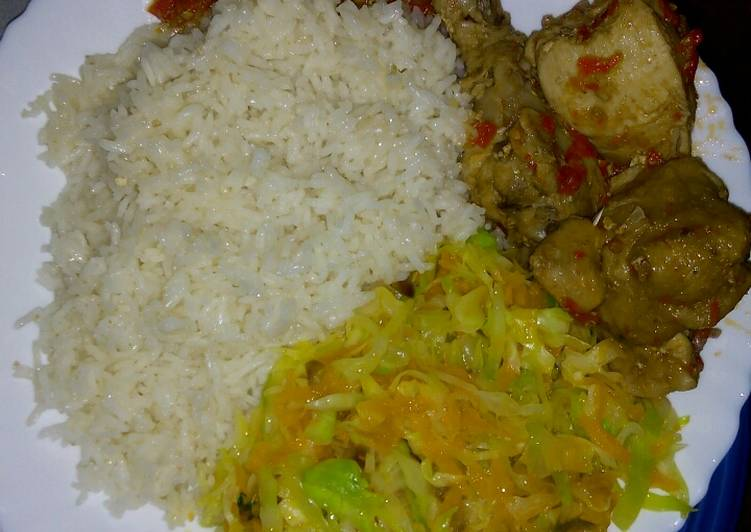 The Foods You Pick To Consume Are Going To Effect Your Health White rice with cabbage and chicken