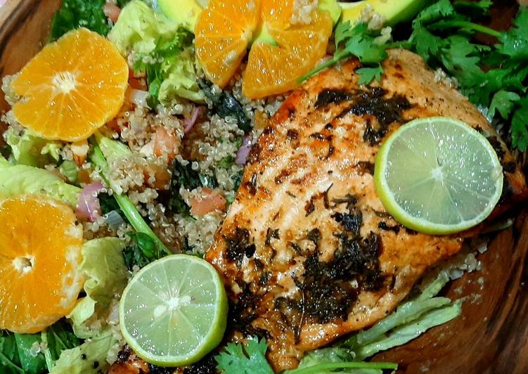 Step-by-Step Guide to Make Favorite Lime'n'thyme salmon with quinoa basil salad
