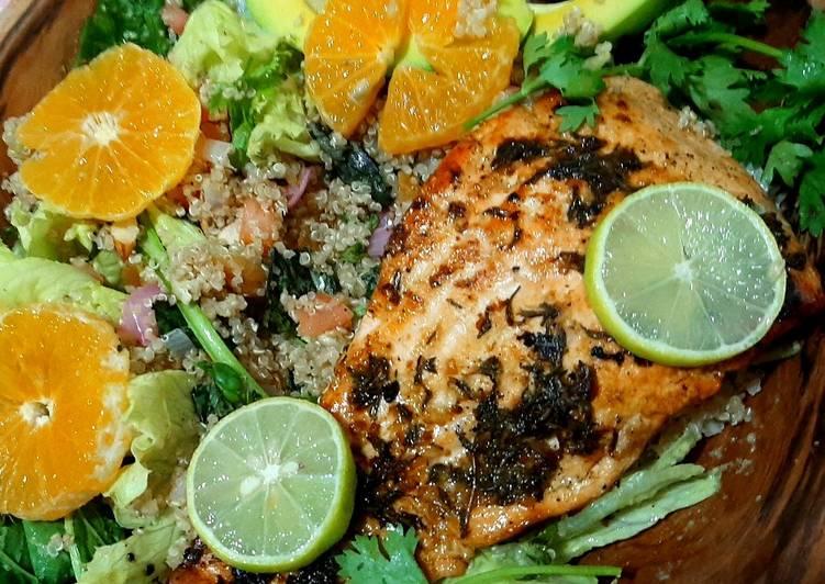 Lime'n'thyme salmon with quinoa basil salad