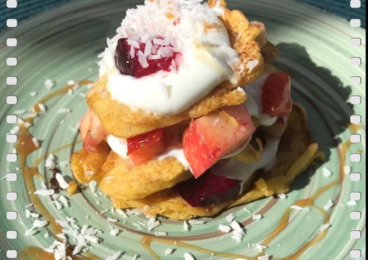 Bohnen-Pancake mit Obstsalattopping