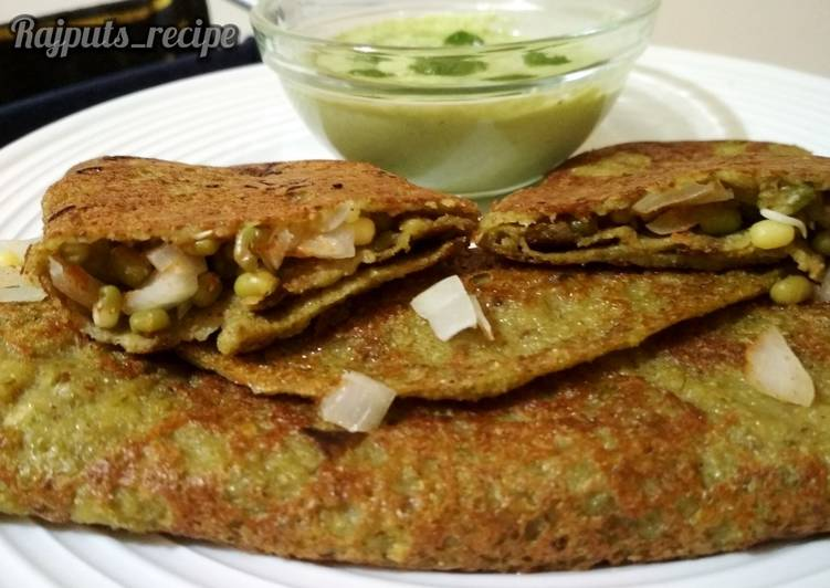 Steps to Make Perfect Sprouts Dosa or Pesarattu or mung dal Dosa